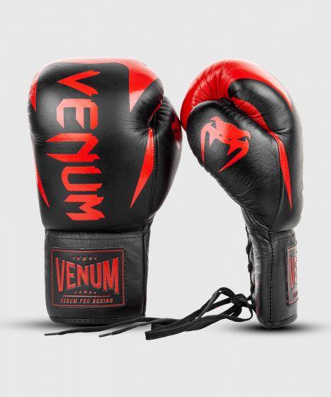Gants de boxe Pro Venum Hammer - Avec Lacets - Noir/Rouge