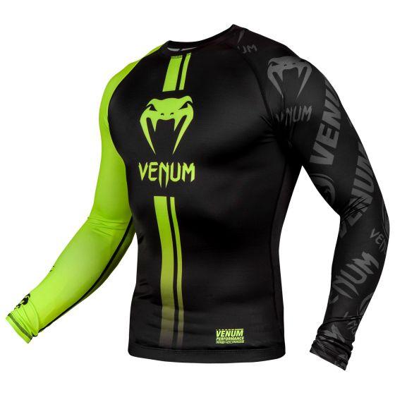 Venum Logos Rashguard - Lange mouwen - Zwart/Neongeel