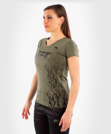 T-shirt Manches Courtes Femme UFC Venum Authentic Fight Week - Kaki