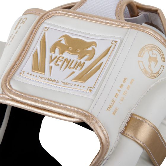Venum Elite Headgear-White/Gold