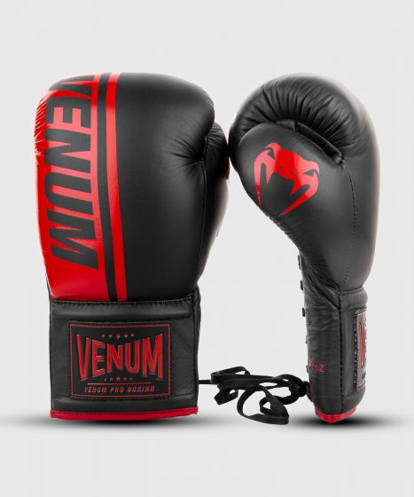 Venum Shield Pro bokshandschoenen - met veters - Zwart/Rood
