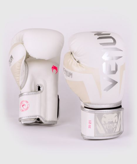 Venum Elite Boxhandschuhe - Weiß/Silber-Rosa