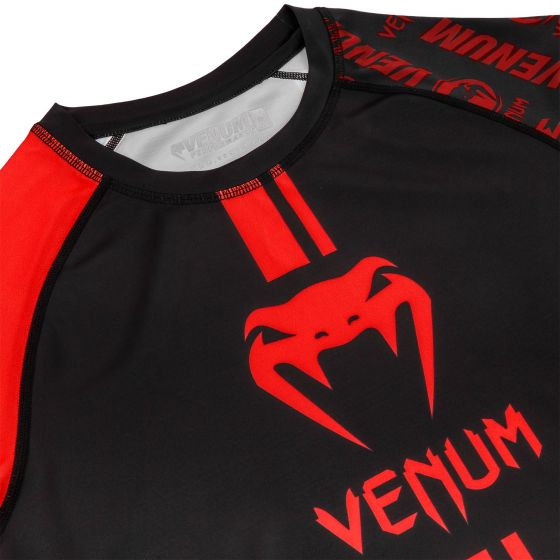 Venum Logos Rashguard - Short Sleeves - Black/Red