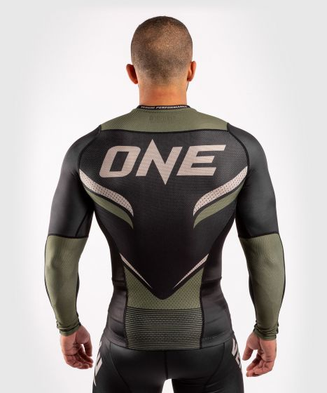 Venum ONE FC Impact Rashguard - long sleeves - Black/Khaki