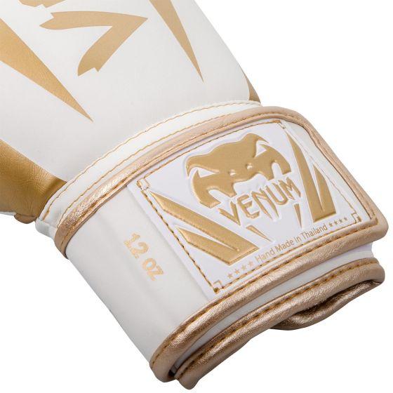 Gants de boxe Venum Elite - Blanc/Doré