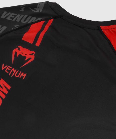 Rashguard Venum Logos - Kurzarm - Schwarz/Rot
