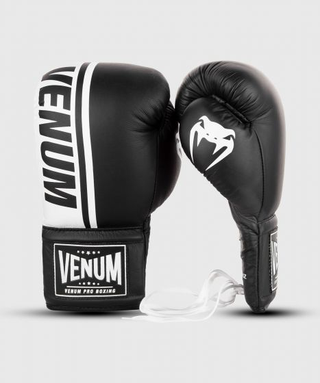 Venum Shield professionelle Boxhandschuhe - MIT SCHNÜRUNG - Schwarz/Weiß