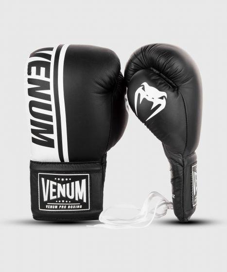 Venum Shield Pro Boxing Gloves - With Laces  - Black/White