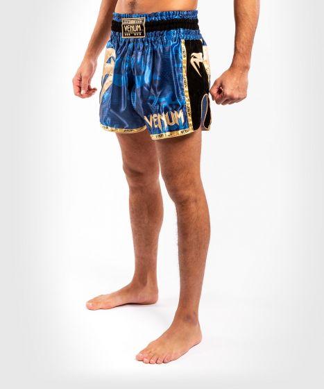 Pantaloncini da Muay Thai Venum Giant Camo - Blu/Oro