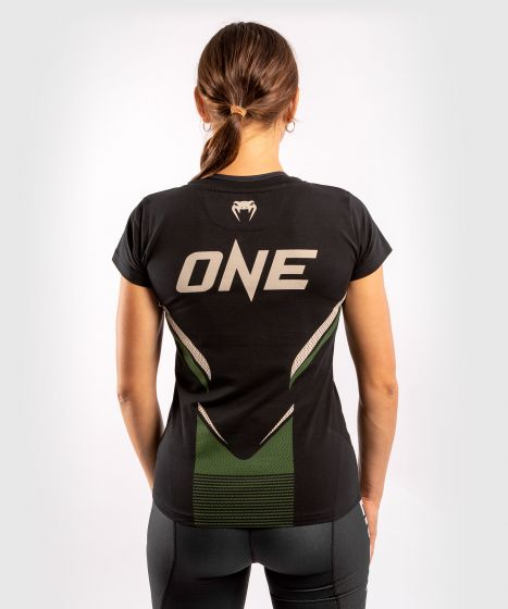 Camiseta ONE FC Impact - Mujer - Negro/Caqui