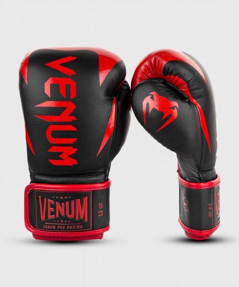 Gants de boxe pro Venum Hammer - Velcro - Noir/Rouge