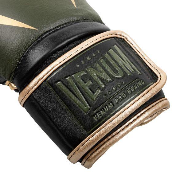 Guantes de boxeo profesional Venum Giant 2.0 Edición Linares - Con velcro - Caqui/negro/dorado