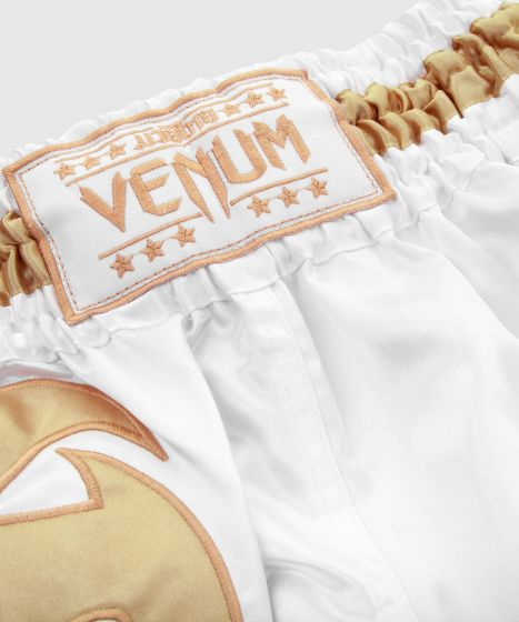 Pantalones Cortos de Muay Thai Venum Giant - Blanco/Oro
