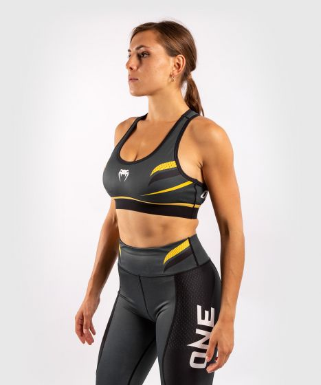Sujetador deportivo ONE FC Impact - Mujer - Gris/Amarillo
