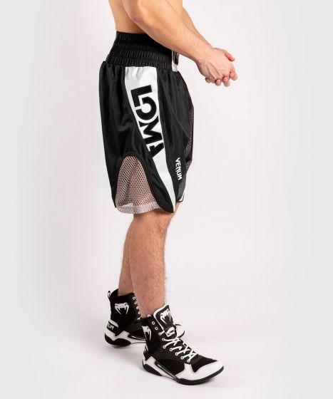 Pantalones cortos de boxeo Venum Arrow Loma Signature Collection - Negro / Blanco