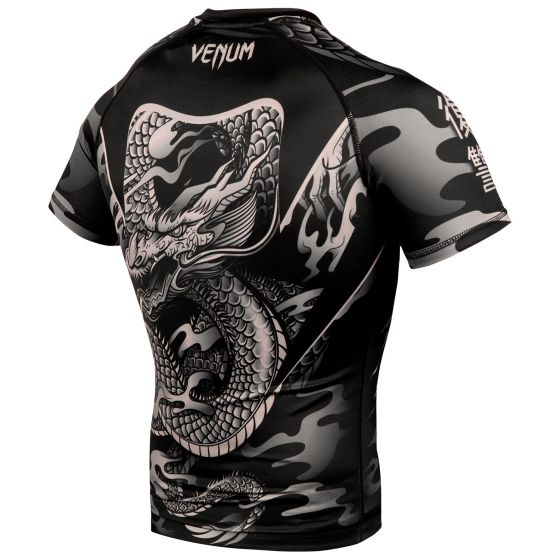 Rash guard Venum Dragon's Flight - Maniche corte - Nero/Sabbia