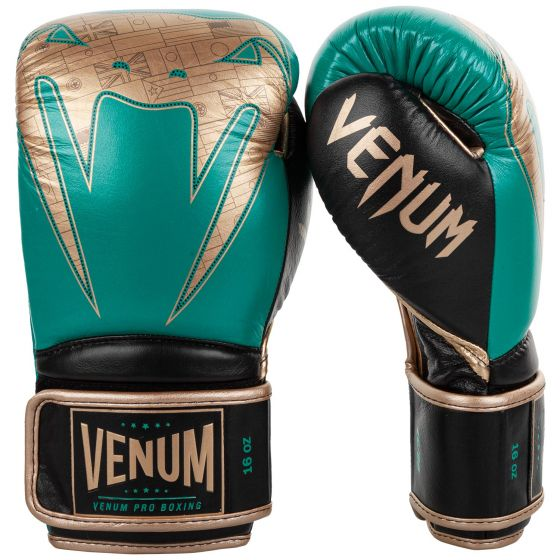 Gants de boxe Pro Venum Giant 2.0 - Edition limitée WBC - Velcro - Vert Métallique/Doré
