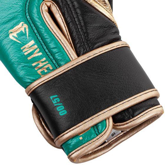 Venum Shield professionelle Boxhandschuhe - WBC limitierte Auflage - Klettverschluss - Metallicgrün/Gold