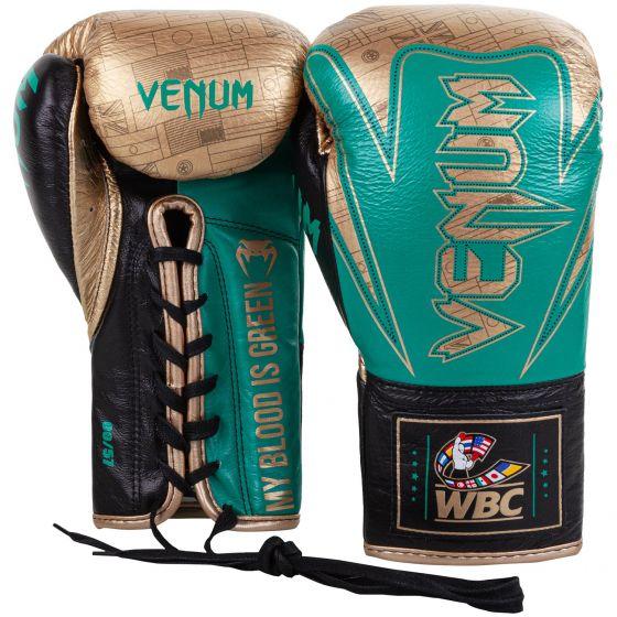 Guantes de Boxeo profesionales Venum Hammer - Cordones - Edición limitada WBC - Verde metálico/Dorado