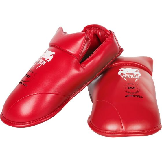 Venum Karate Shin Pad & Foot Protector - Approved by EKF - Red