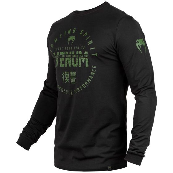 Venum Signature T-shirt - lange mouwen - Zwart/ Kaki - Exclusief