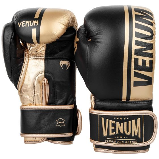 Venum Shield Pro Boxing Gloves - Velcro - Black/Gold