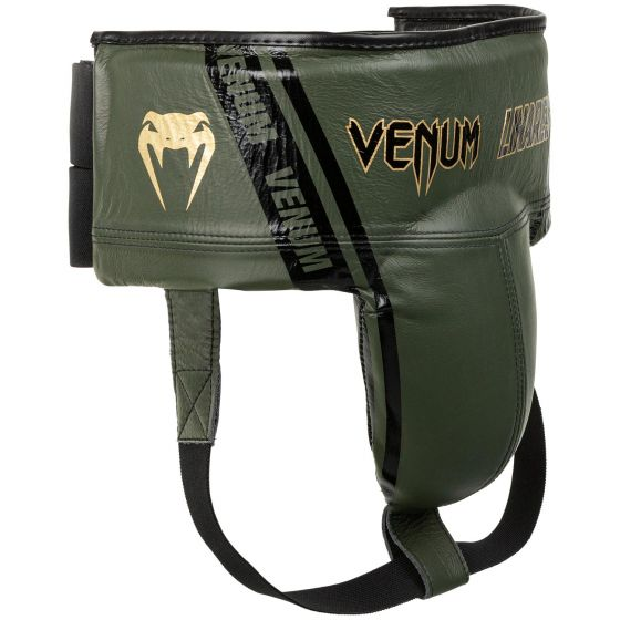 Protector inguinal de boxeo profesional Venum Edición Linares - Con velcro - Caqui/negro/dorado