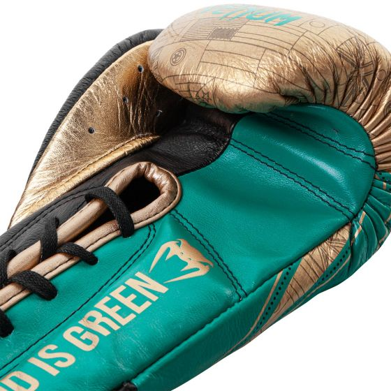 Venum Hammer Pro Boxing Gloves WBC Limited Edition - With Laces - Green Metallic/Gold