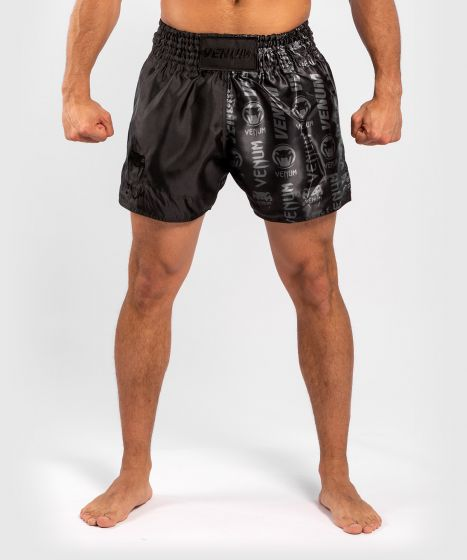 Venum Logos Muay Thai Shorts - Black/Black