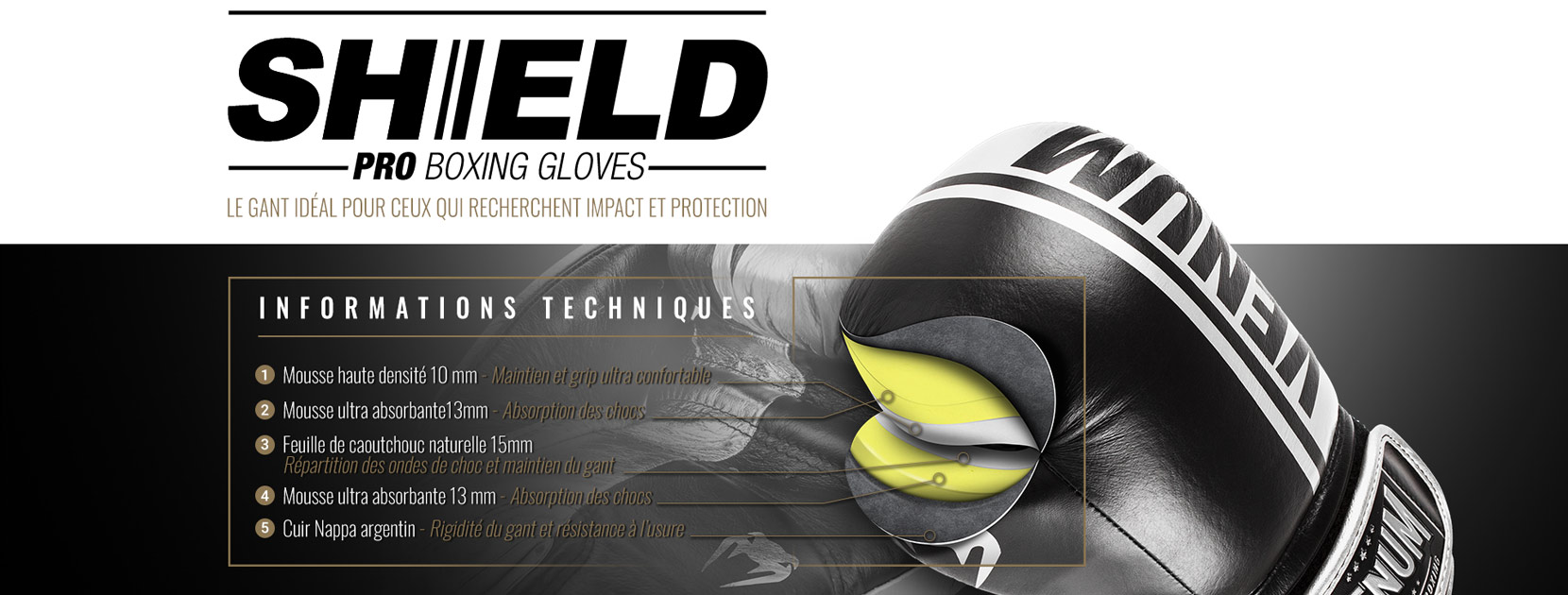 Gants de boxe professionnels Shield