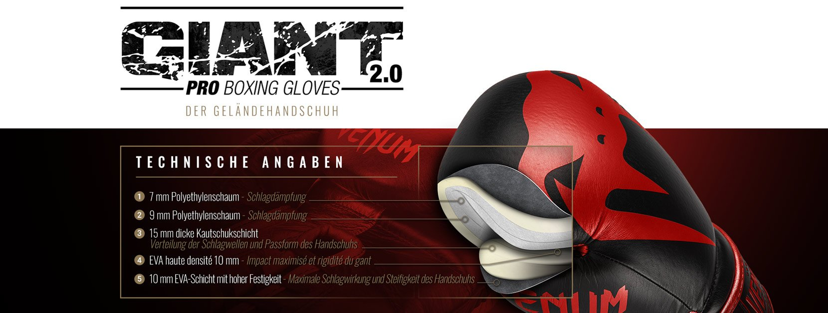 Professionelle Boxhandschuhe Giant 2.0