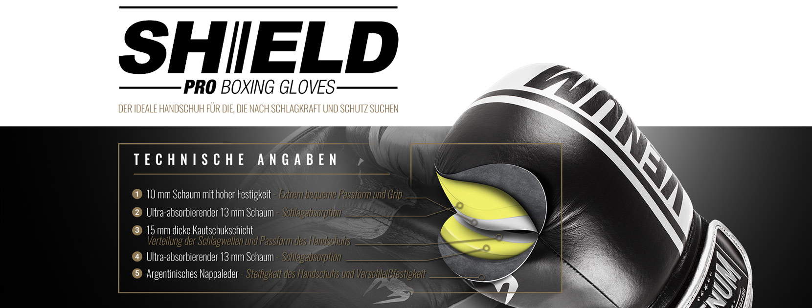 Professionelle Boxhandschuhe Shield