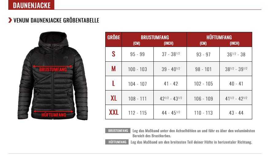 venum down jacket size chart