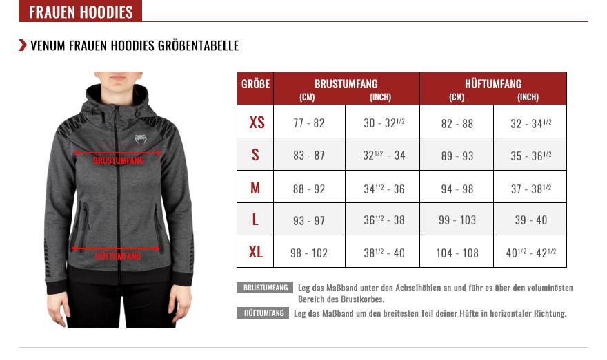 venum women hoodies size chart