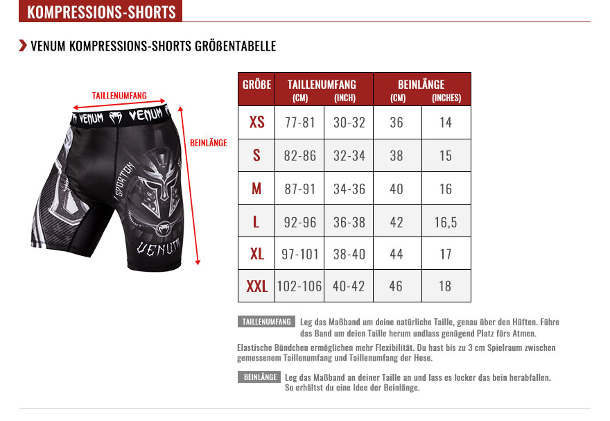venum compression shorts size chart