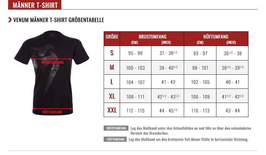 venum men t-shirts size chart