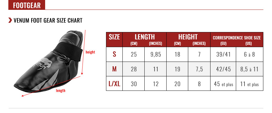 venum foot gear size chart