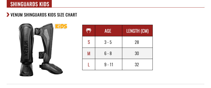 venum kids shin guards size chart