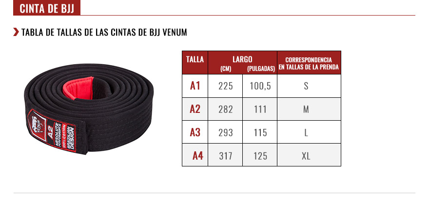 venum bjj belts size chart