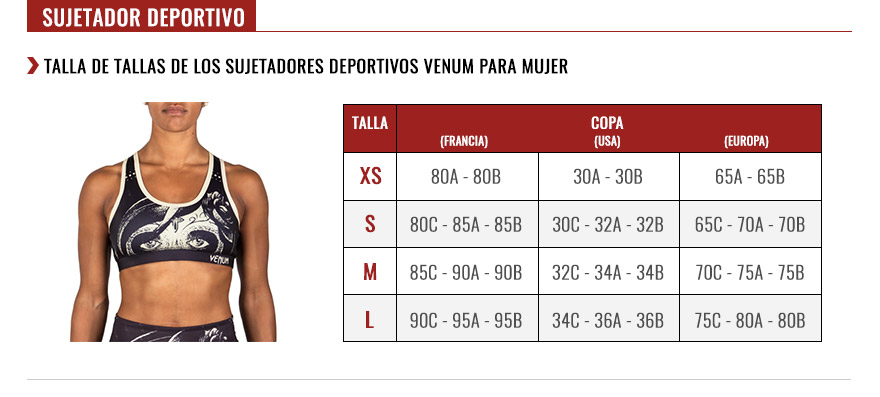 venum women sports bras size chart