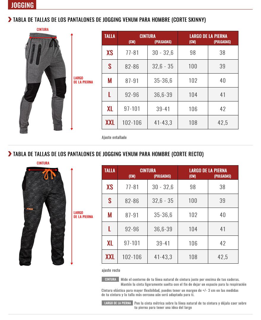 venum men joggings size chart