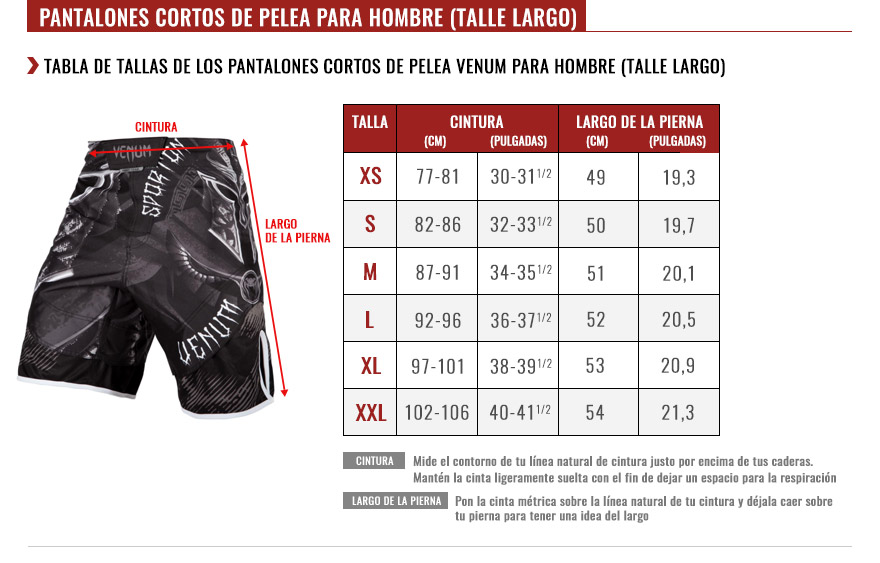 venum men long fightshorts size chart