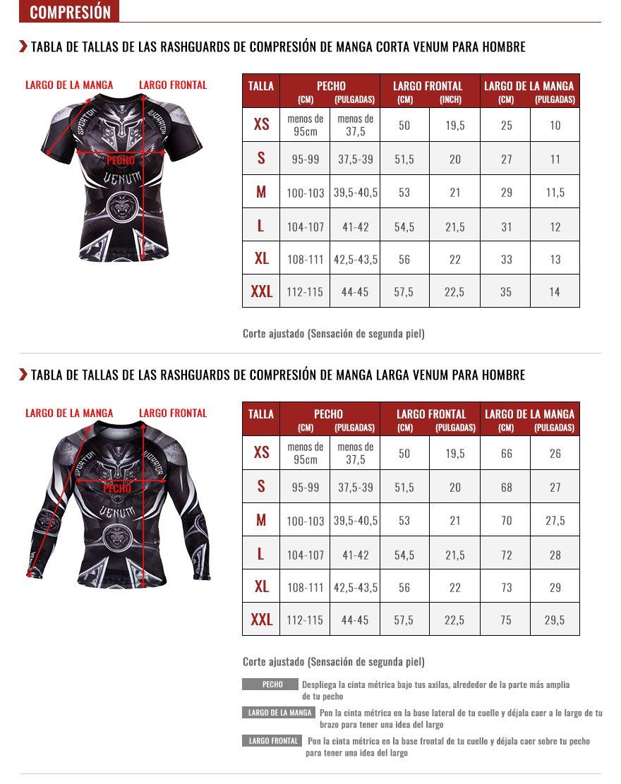 venum men rashguards size chart