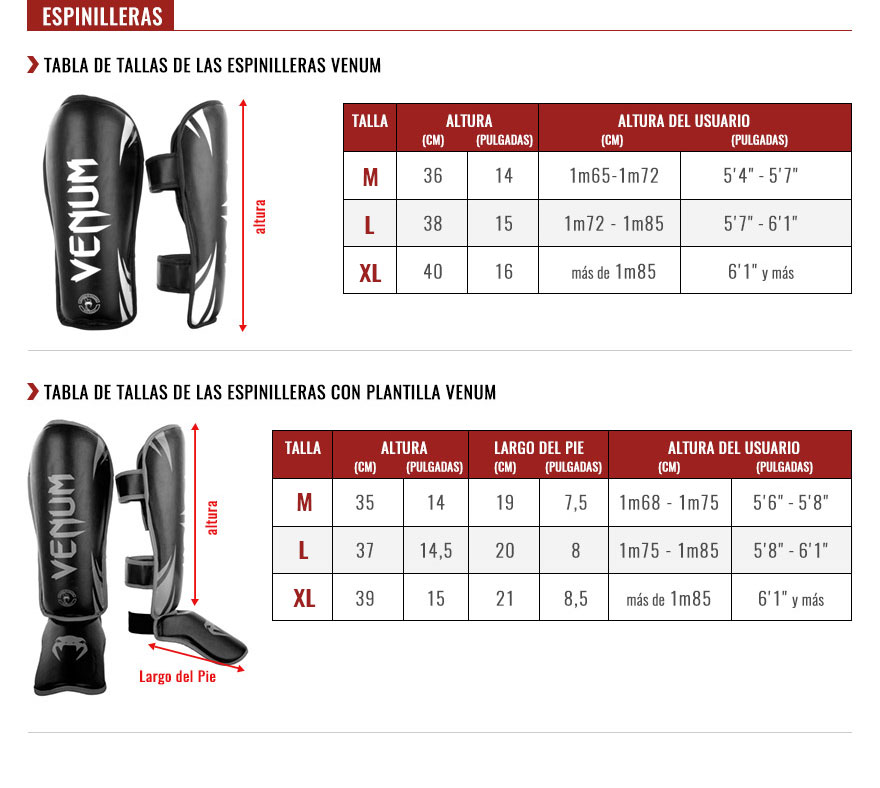 venum shin guards size chart