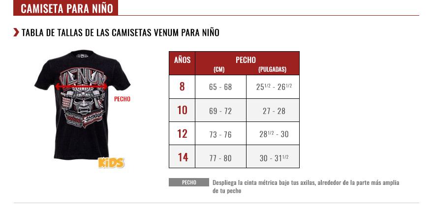 venum kids tshirts size chart