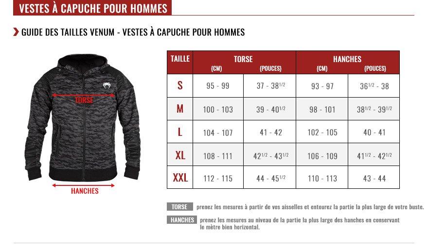venum hoodies size chart