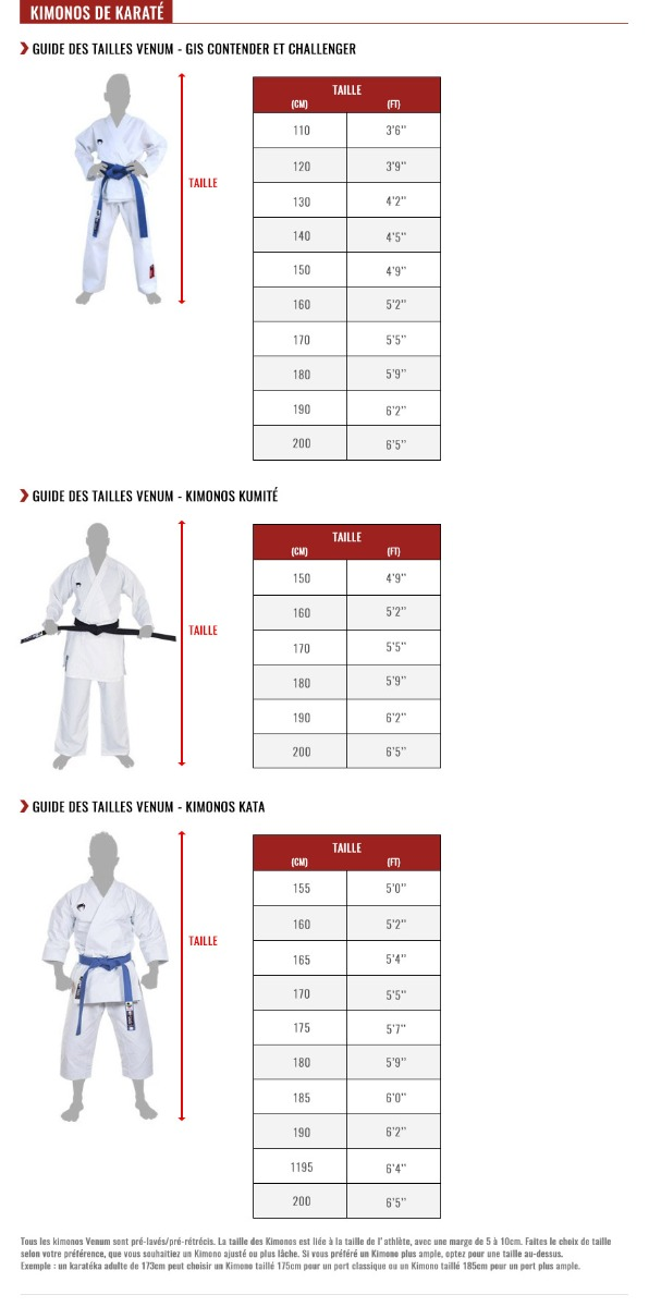 venum karate gis size chart