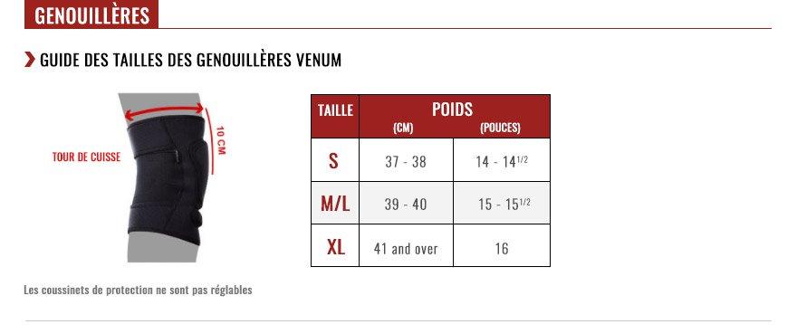 venum knee pads size chart