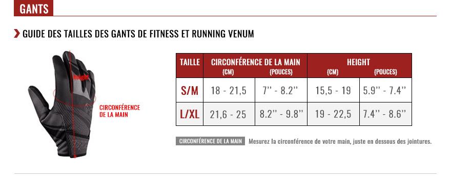 venum gloves size chart