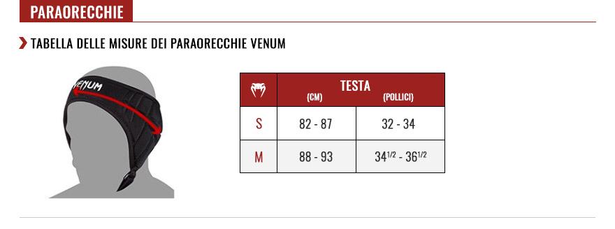 venum earguards size chart